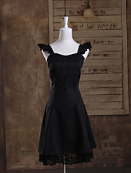 Sleeveless Knee-length Black Cotton Gothic Lolita Dress with Button
