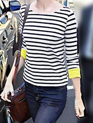 Rayures Col rond des femmes enroulent Cuff T-shirt asymétrique Hem