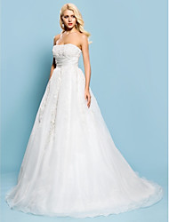 Lan Ting Ball Gown Plus Sizes Wedding Dress - Ivory Court Train Strapless Lace/Organza