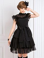 Une Pièce/Robes Gothique Lolita Cosplay Vêtrements Lolita Noir Couleur Pleine Sans manche Moyen Robe Pour Mousseline