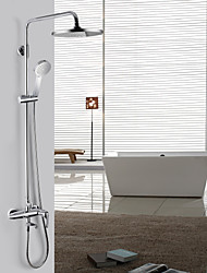 Contemporary Centerset Chrome Finish Shower Faucet with Showerhead + Handshower