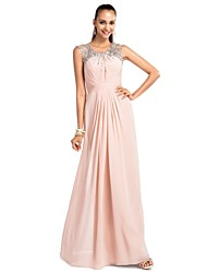 Formal Evening/Prom/Military Ball/Wedding Party Dress - Pearl Pink Plus Sizes Sheath/Column Jewel Floor-length Chiffon