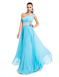 Sheath / Column One Shoulder Floor Length Chiffon Prom Wedding Party Dress with Beading by TS Couture®