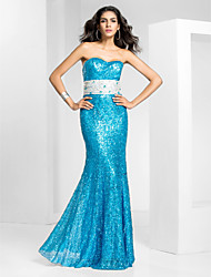 Prom / Formal Evening / Military Ball Dress - Pool Plus Sizes / Petite Trumpet/Mermaid Strapless Floor-length Sequined