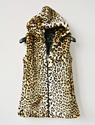 Fur Vest With Hood In Faux Fur Casual/Party Vest(More Colors)