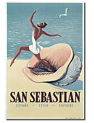 Printed Canvas Art Vintage San Sebastian by Vintage Apple Collection with Stretched Frame