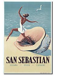 Impresso Canvas Art Vintage San Sebastian pela coleção Vintage da Apple, com quadro esticado