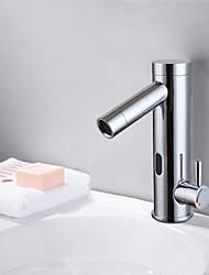 Zeitgenössische Messing Sensor Waschbecken Wasserhahn Chrom-Finish (warm und kalt)