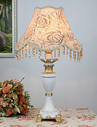 Rustic Table Light with Elegant Floral Fabric Shade Resin Body 220-240V