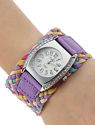 Frauen Stoff PU-Analog-Quarz-Armbanduhr (farbig sortiert)