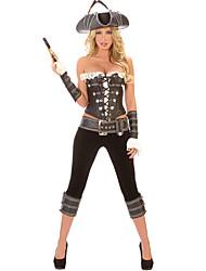 Traje atractivo del pirata Señora Negro poliéster de la Mujer
