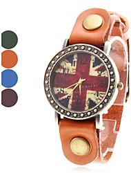 Mulheres é o Jack de couro estilo analógico relógio de pulso de quartzo da União (cores sortidas)