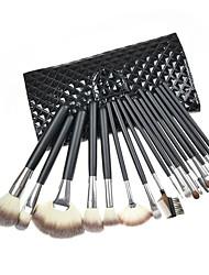 18PCS Black Handle Makeup Brush Kits With Black Grid Pattern Pouch