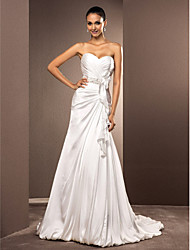 Lanting Bride® A-line / Princess Plus Sizes / Petite Wedding Dress - Chic & Modern / Elegant & Luxurious Court Train Sweetheart Satin