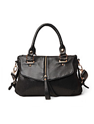 SOCOOL Black PU Leather Serpentine Tote
