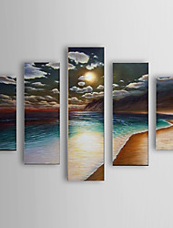 Hand Painted Oil Painting Landscape Sea Beach and sky Set of 5 with Stretched Frame 1307-LS0114
