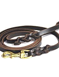 Universal High-end retrátil Leash couro genuíno com fivela de metal para cães (ML)