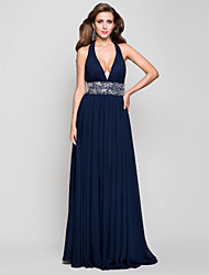 TS Couture® Prom / Formal Evening / Military Ball Dress - Open Back Plus Size / Petite Sheath / Column Halter / V-neck Floor-length Chiffon