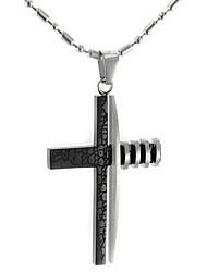 Linee titanio acciaio croce pendente collana (nero)