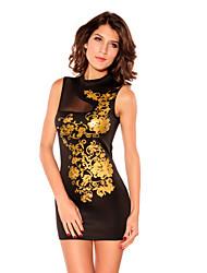 mesh splicing ouro vestido estampado preto