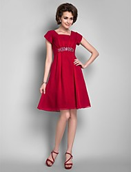 Lanting Wedding Party / Cocktail Party Dress - Burgundy Plus Sizes / Petite A-line Square Knee-length Chiffon