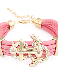 Gold Plated Alloy Anchor Pattern Leather Bracelet(Assorted Colors)