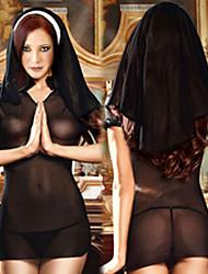 Sexy abito da suora nera e Copricapo (3 Pezzi)