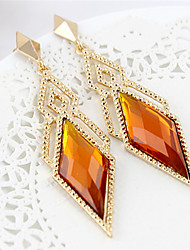 Gold Plated Alloy Zircon Diamond Pattern Earrings(Assorted Colors)