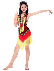 Performance Pretty Dancewear Spandex With Tassels And Beading Latin Dance Outfits For Children(More Colors)