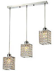 Contemporary Minimalist 3 Light Pendant with Cubic Crystal Shade