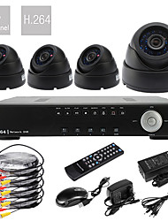Ultra-4CH D1 Echtzeit H.264 High Definition 600TVL CCTV DVR Kit (4pcs Tag Nacht Dome CMOS Kameras)