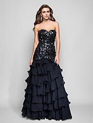 Formal Evening / Prom / Military Ball Dress - Black Plus Sizes / Petite Trumpet/Mermaid Strapless / Sweetheart Floor-lengthChiffon /