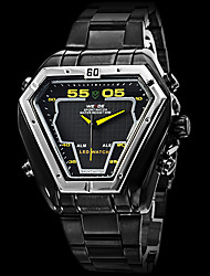 WEIDE® Brand Men's Dual Time Analog-Digital LED Display Black Steel Band Luxury Wrist Watch Cool Watch Unique Watch
