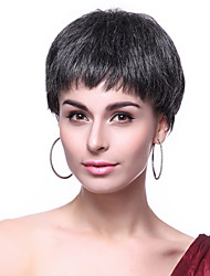 Capless High Quality Synthetic Short Mixed Color Elderly Hair Wigs