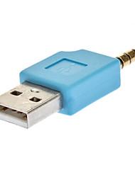 USB 2.0 Male to Blue Masculino 3,5 milímetros adaptador de áudio com furo Sling