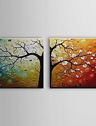handgeschilderde olieverf botanische bloeiende boom met gestrekte frame set van 2 1307-bo0156
