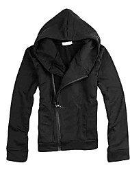 Men's Cooton Oblique Zipper High-necked Fleece with Hood(Black)