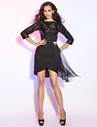 Sheath / Column Bateau Neck Short / Mini Asymmetrical Chiffon Sequined Cocktail Party Dress with Ruffles by TS Couture®