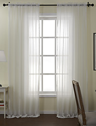 Modern Two Panels Solid White Dining Room Poly  Cotton Blend Sheer Curtains Shades