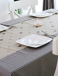 Korean Style Blue Stripe Linen Table Cloths