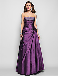 Prom / Formal Evening / Military Ball Dress - Open Back Plus Size / Petite A-line / Princess Strapless Floor-length Taffeta withBeading /
