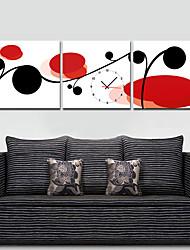 stile moderno rosso e nero orologio da parete floreale in tela 3pcs