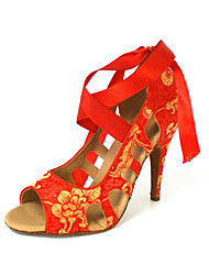 Customized Women's Silk Upper Dance Shoes With Lace-up
