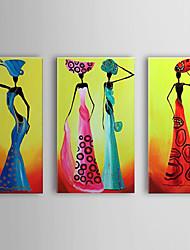 peints à la main peinture à l'huile peoplee danse des femmes elgant avec cadre étiré set de 3 1307-pe0301