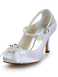 Women's Wedding Shoes Mary Jane Heels Wedding Black/Blue/Pink/Purple/Red/Ivory/White/Silver/Gold/Champagne