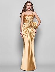 A-ligne princesse spaghetti sangles sweetheart étage longueur stretch satin robe de bal avec fleur par ts couture®