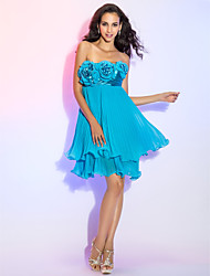 TS Couture® Cocktail Party / Homecoming / Prom Dress - Short Plus Size / Petite Sheath / Column Strapless Short / Mini Chiffon / Stretch Satin