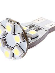 Ampoule T15 1W 12x3528SMD lumière blanche LED pour la voiture de clignotants / feux de position latéraux (12V DC)