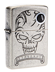 Zippo Scary Faces Pattern Silver Oil Lighter