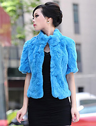 Short Sleeve Standing Collar Rabbit Fur Casual/Party Jacket (More Colors)